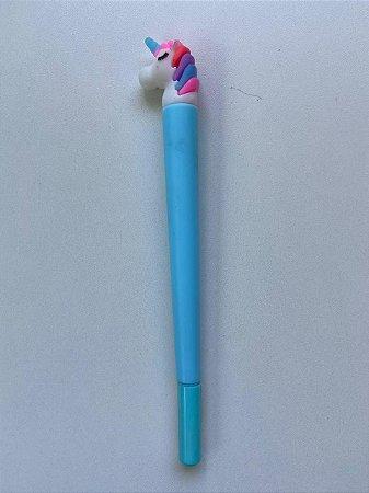 Caneta Unicornio Azul Claro