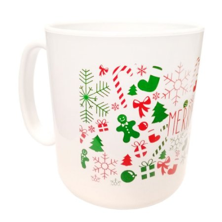 Caneca Plástica Tema Natal Marry Christmas - 400ml