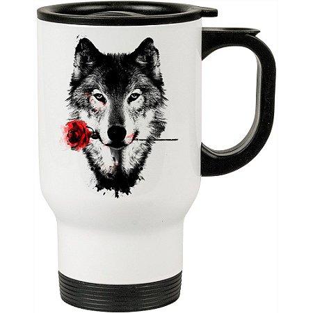 Caneca Térmica A Rosa do Lobo 500ml Branca