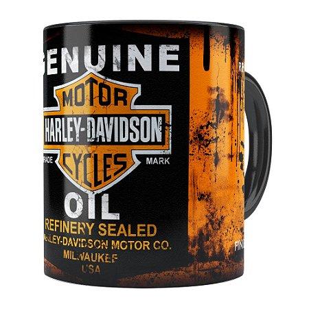 Caneca Lata de Óleo Retrô Oil Harley Davidson Preta