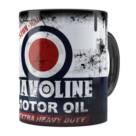 Caneca Lata de Óleo Retrô Oil Havoline Preta