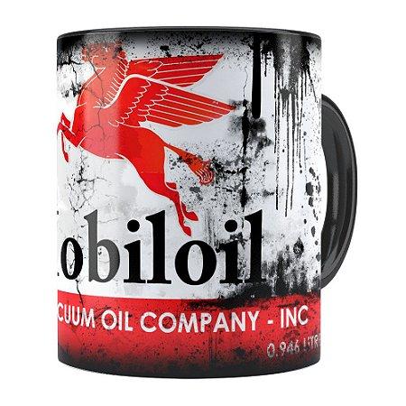 Caneca Lata de Óleo Retrô Oil Mobiloil Preta