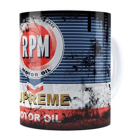 Caneca Lata de Óleo Retrô Oil RPM Branca