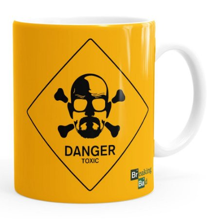 Caneca Breaking Bad Heisenberg Danger Toxic Branca