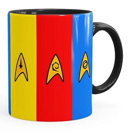 Caneca Star Trek Uniformes Comando, Engenharia e Ciência Preta
