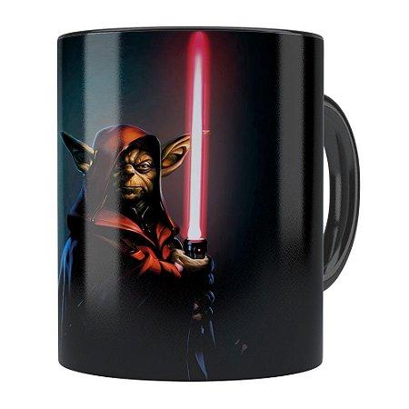 Caneca Star Wars Mestre Yoda v04 Preta