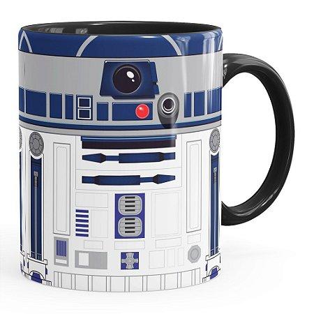 Caneca Star Wars R2-D2 Minimalista Preta
