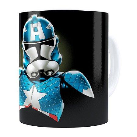 Caneca Star Wars StormTrooper Capitão América Branca