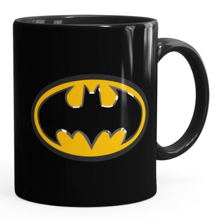 Caneca Batman Logo Porcelana Preta