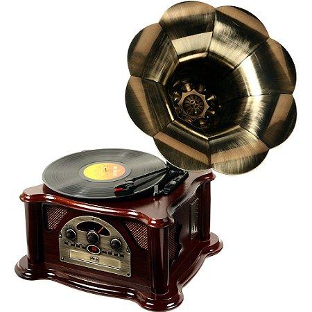 Toca Discos Classic Gramophone Texas 33752 USB, CD e MP3 Player