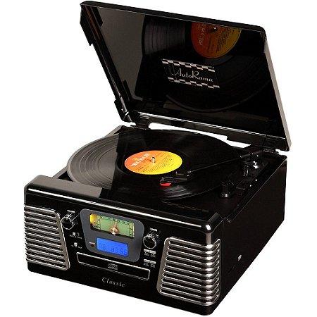 Toca Discos Classic AutoRama Preto 33836 USB, CD e MP3 Player