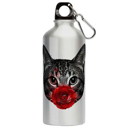 Squeeze Gato Rosa Vermelha 500ml Aluminio