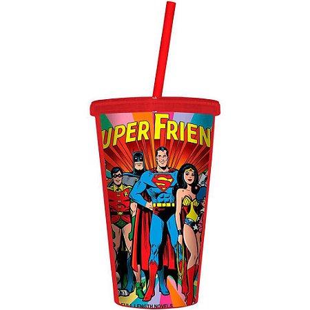 Copo Super Friends DC Comics 500ml Tampa e Canudo