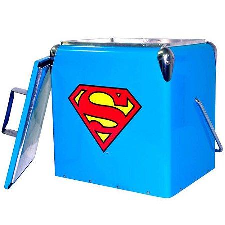 Cooler de Bebidas Logo Superman Azul Metal