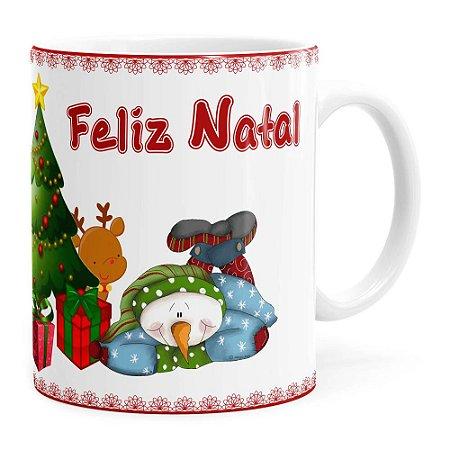 Caneca Feliz Natal Boneco de Neve Branca