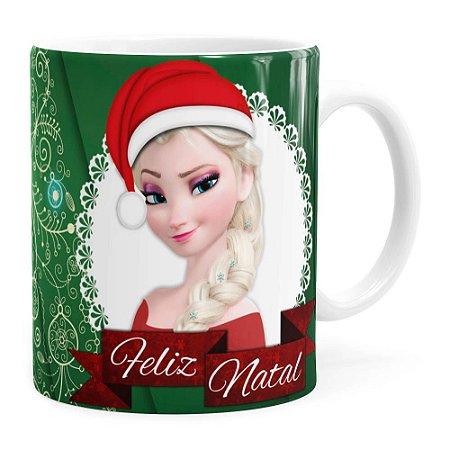 Caneca Feliz Natal Frozen Anna e Elza v01 Branca