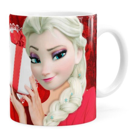 Caneca Feliz Natal Frozen Elsa v01 Branca