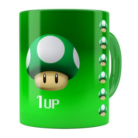 Caneca Mario Bros Toad  Verde 1UP Verde
