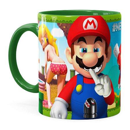 Caneca Super Mario Bros #NeverFriendZone Sexy v02 Verde