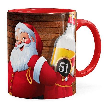 Caneca Natal Cachaça 51 Com Refrigerante Aqui Não Vermelha