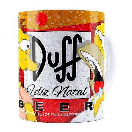 Caneca Simpsons Barney e Homer Duff Beer Feliz Natal Branca