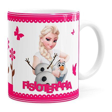 Caneca Profissões Fisioterapia Frozen Elsa Branca