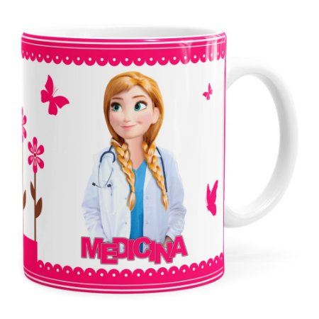 Caneca Profissões Medicina Frozen Anna Branca