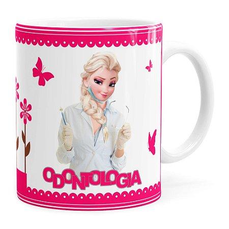 Caneca Profissões Odontologia Frozen Elsa Branca