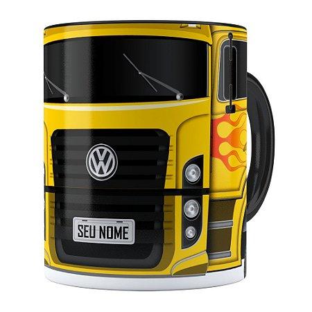 Caneca Personalizada Truck Amarelo v01 com Nome Preta