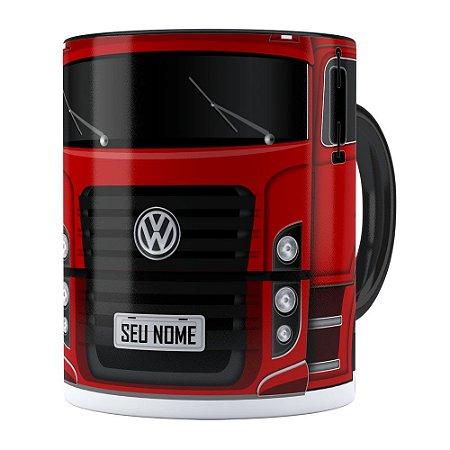 Caneca Personalizada Truck Vermelho v02 com Nome Preta