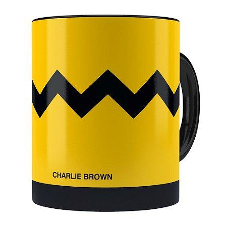 Caneca Peanuts Charlie Brown Minimalista Preta
