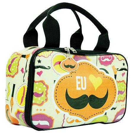 Necessaire Bolsinha Estampada Mustache em Couro 30x20cm