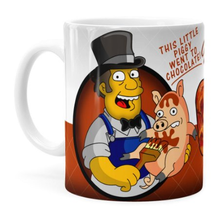 Caneca Chocolate Os Simpsons Farmer Billys Branca