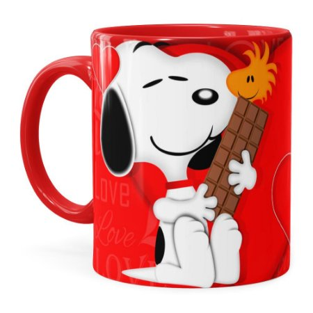 Caneca Chocolate Snoopy Love Vermelha