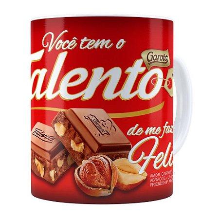 Caneca Chocolate Talento Barra Mensagem v01 Branca