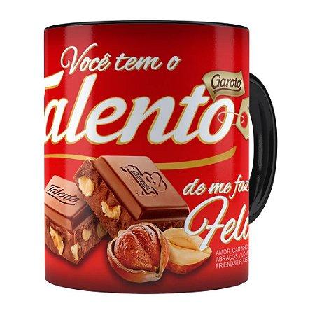 Caneca Chocolate Talento Barra Mensagem v01 Preta