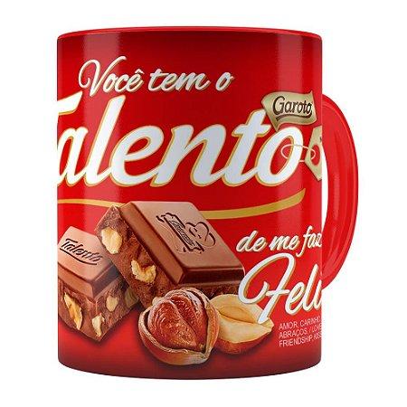 Caneca Chocolate Talento Barra Mensagem v01 Vermelha