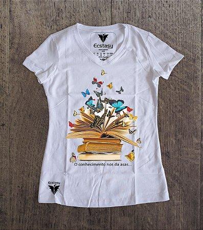 8ef1709ee Camiseta Feminina Baby Look - Gola V - 100% algodão Penteado - Estampada em  Transfer