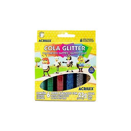 COLA GLITTER 6 CORES ACRILEX