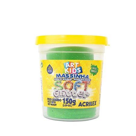 MASSINHA DE MODELAR SOFT GLITTER VERDE 150G ACRILEX