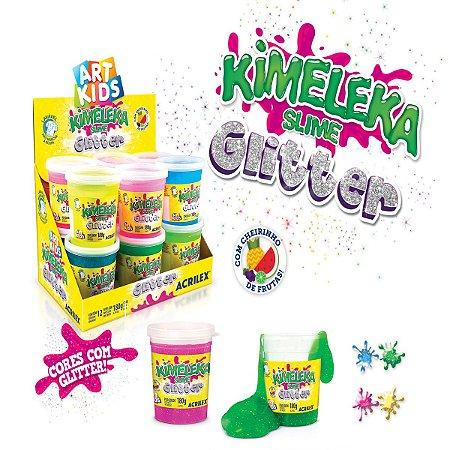 KIMELEKA SLIME GLITTER CAIXA FECHADA COM 12 POTES COM 180G CADA