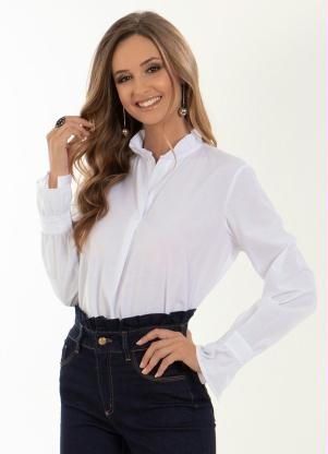 Camisa Branca babado nas mangas e gola