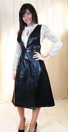 Vestido salopete couro preto