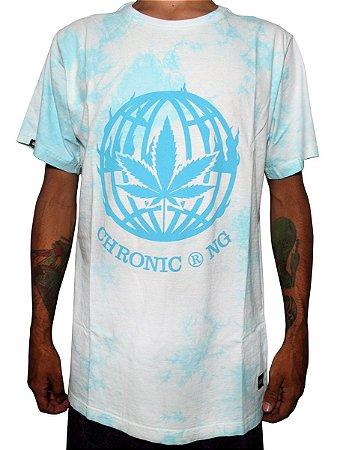 Camiseta Chronic 420 Cannabis Universal Masculina Tie Dye Azul