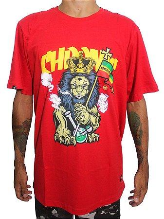 Camiseta Chronic 420 Reggae Roots Leão Rasta Lion Vermelha