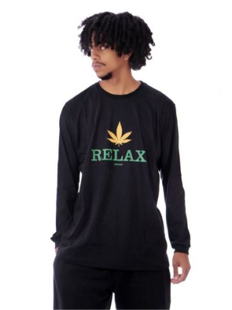 Camiseta Chronic Manga Longa Cannabis Relax Preta 420 Original Marginal