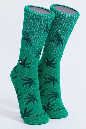 Meia Chronic Cannabis Verde Cano Longo 420 Ganja Original Marginal