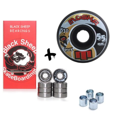 Roda Skate Moska 55mm Rock 53D Street Preta + Rolamento + Brinde