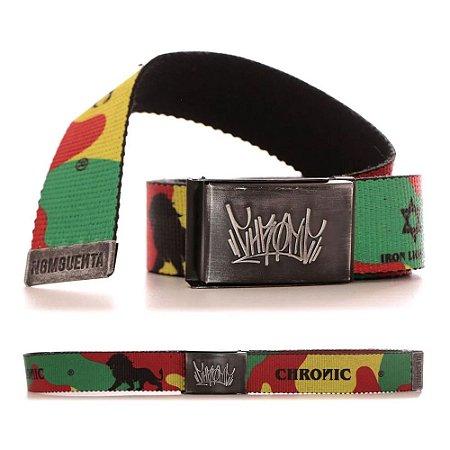 Cinto Chronic 420 Reggae Roots Camuflado Fivela Skate Lona