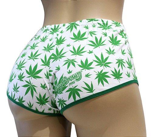 Short Cannabis Branco e Verde Ray Brown